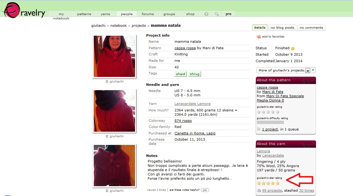 A project page on Ravelry