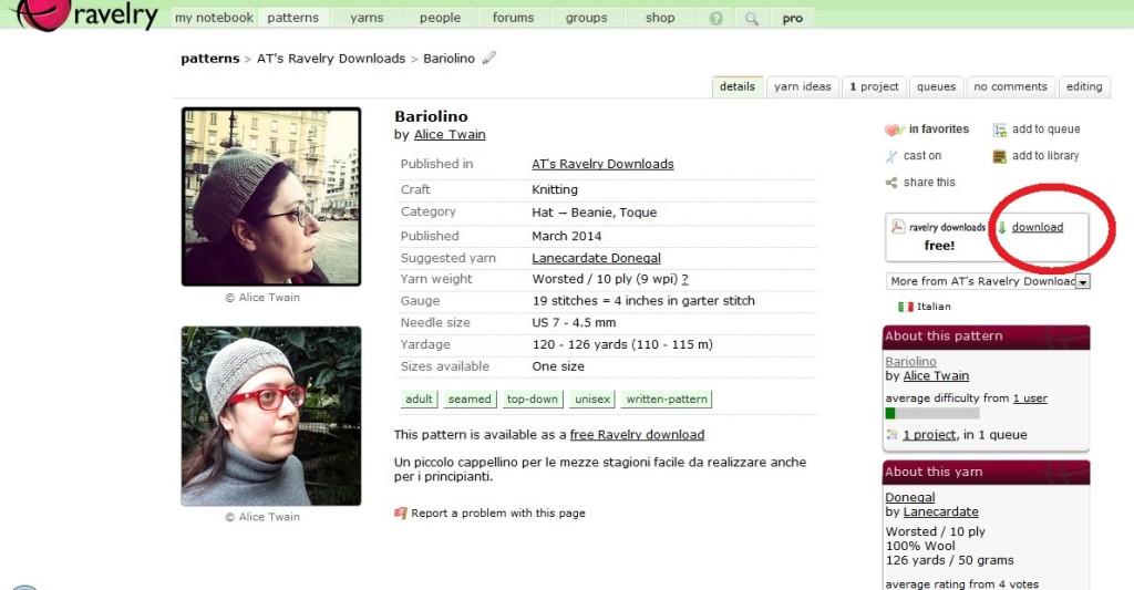 Pagina di presentazione di un modello gratuito su Ravelry