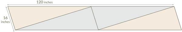 Dimensioni della sciarpa. Sono indicate in pollici. 1 pollice corrisponde a 2,54 cm