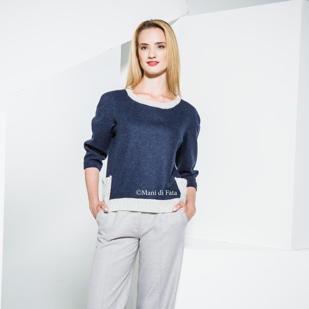 Il maglione in Lanacotta e Lamora realizzato da Mani di Fata